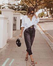 jeans,black jeans,black sandals,white shirt,oversized shirt,gucci,gucci bag