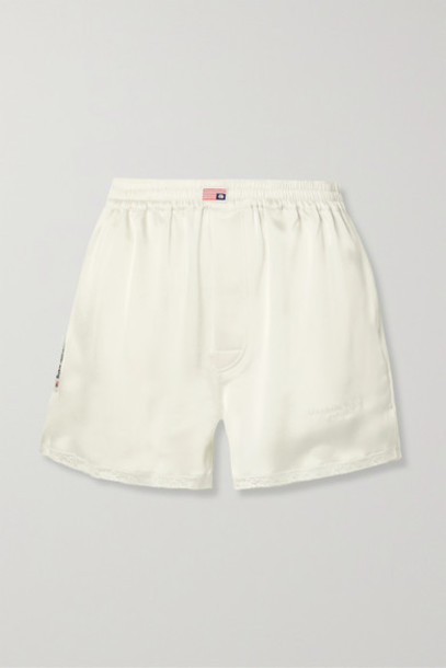 Alexander Wang - Embroidered Lace-trimmed Satin Shorts - Ivory