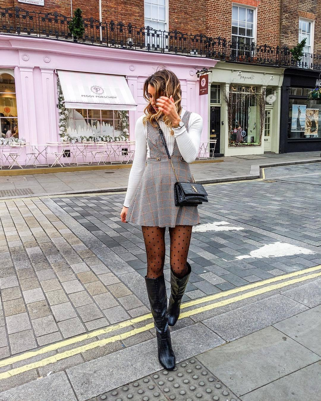 dress mini dress knee high boots black boots tights black bag white top plaid dress grey dress white sweater crossbody bag