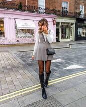 dress,mini dress,knee high boots,black boots,tights,black bag,white top,plaid dress,grey dress,white sweater,crossbody bag