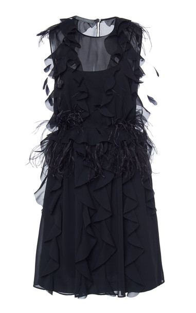 Alberta Ferretti Feathered Chiffon Mini Dress in black