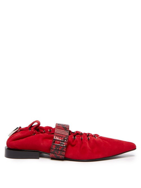 Toga - Python Effect Band Suede Flats - Womens - Red