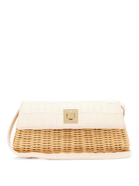 Sparrows Weave - The Clutch Wicker And Leather Cross Body Bag - Womens - Light Pink