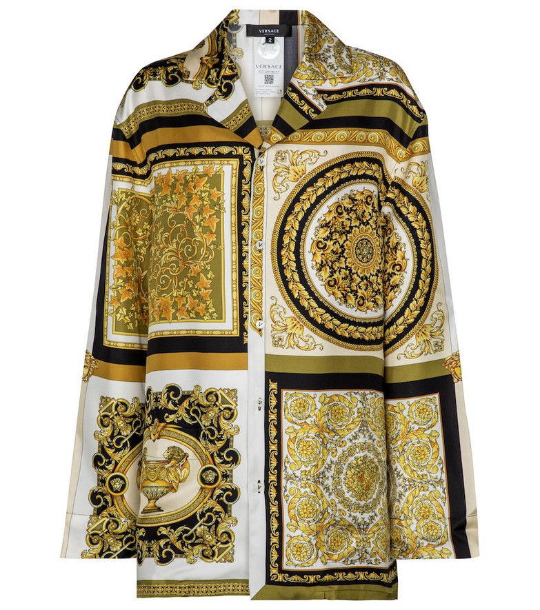 Versace Printed silk-twill shirt in gold