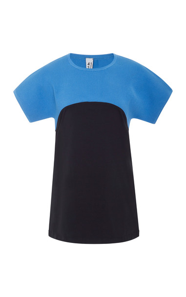 4254 Sport Two-Tone Knitted Tee Size: S in blue