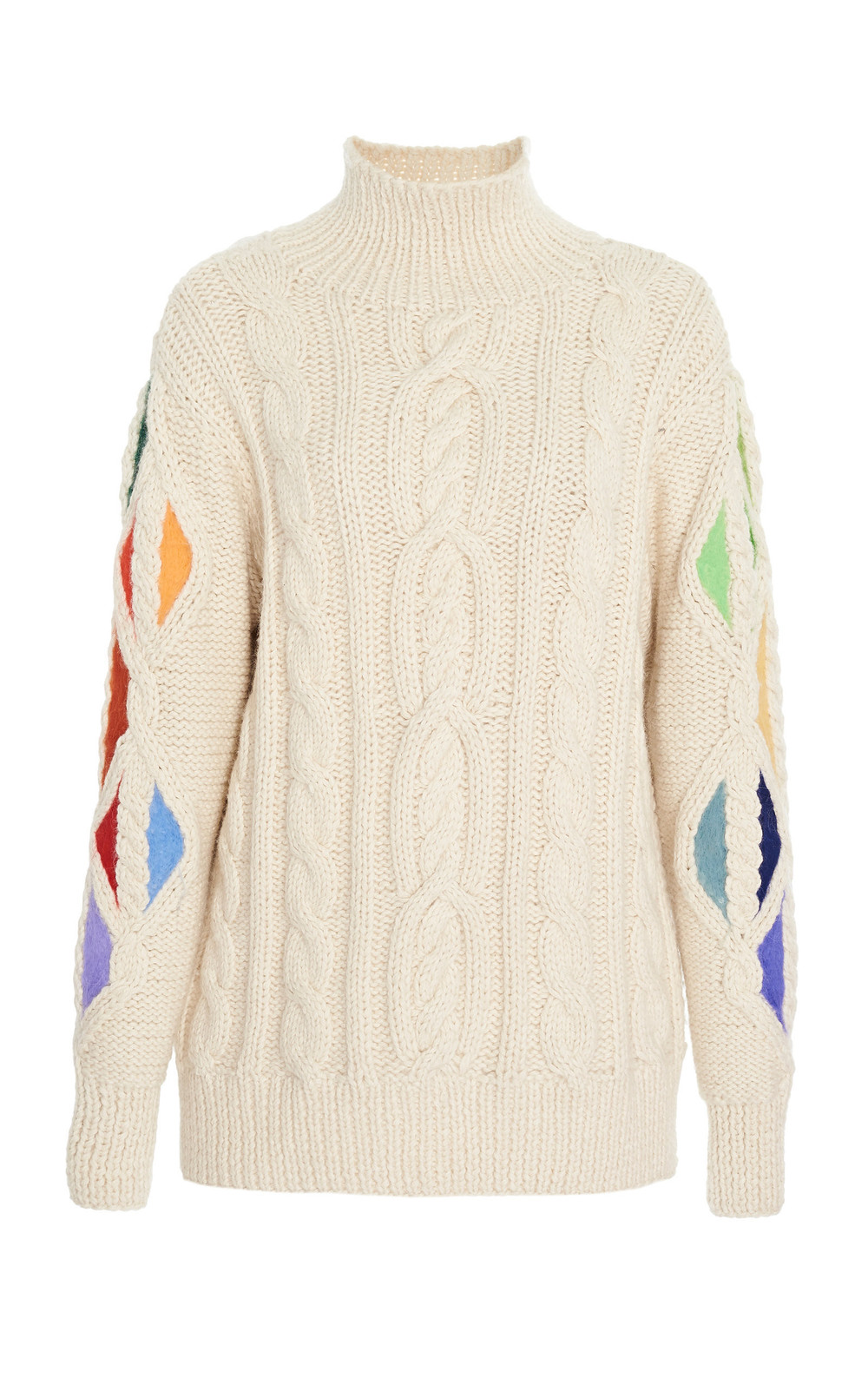Rosie Assoulin Pain In The Glass Cable-Knit Alpaca Sweater in white