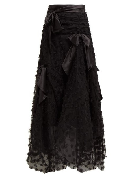 Rodarte - Satin Bow Handkerchief Hem Tulle Skirt - Womens - Black