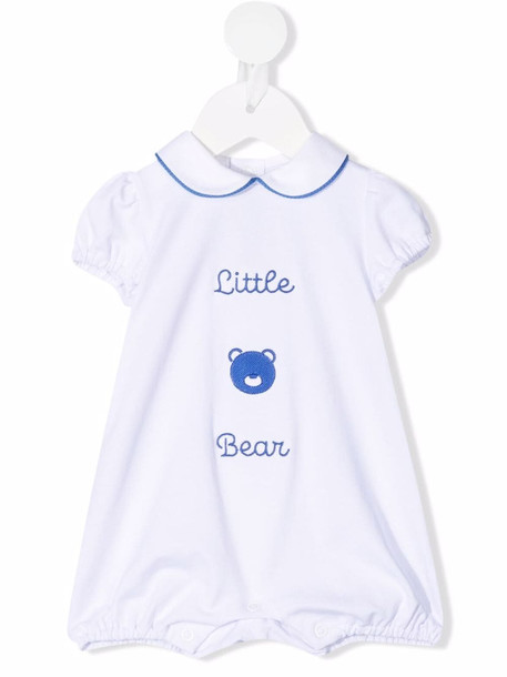 Little Bear embroidered peter pan collar romper - White