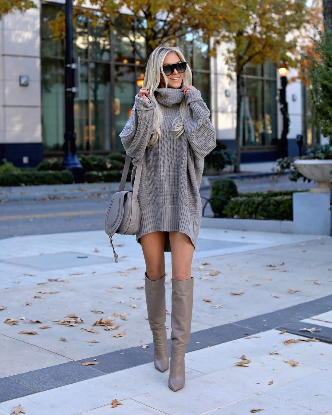 sweater turtleneck sweater oversized sweater knee high boots grey boots grey bag