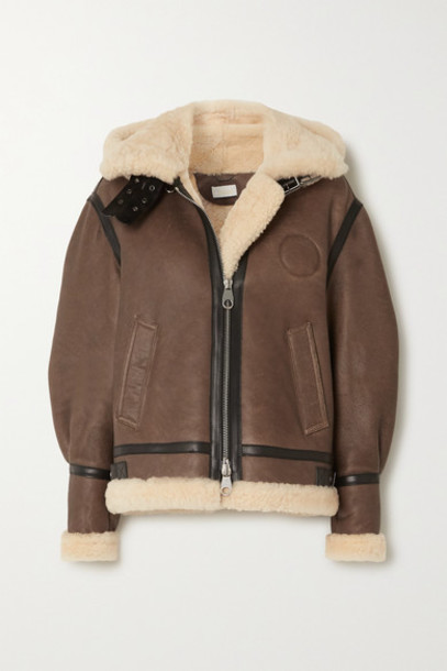 Chloé Chloé - Hooded Leather-trimmed Shearling Jacket - Brown