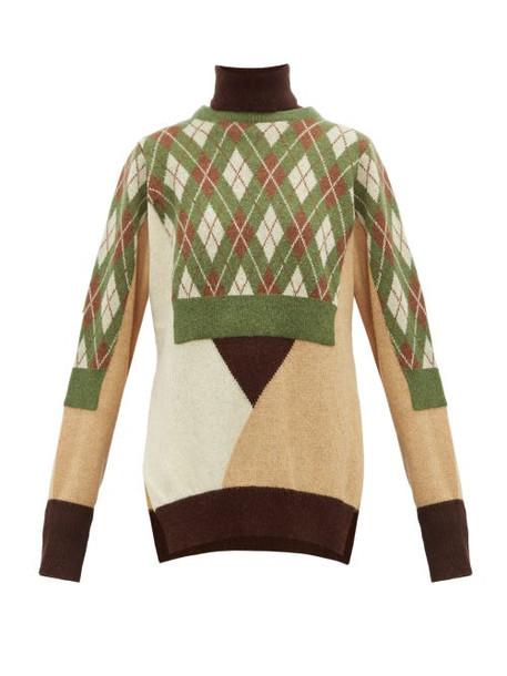 Preen By Thornton Bregazzi - Charlie Layered Wool Blend Sweater - Womens - Green Multi
