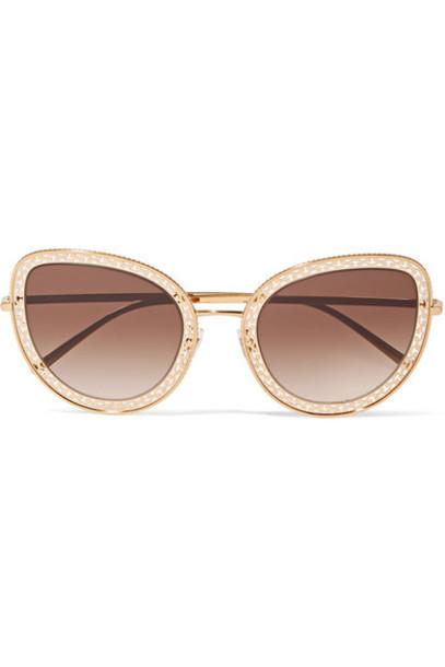 Dolce & Gabbana - Cat-eye Gold-tone Sunglasses