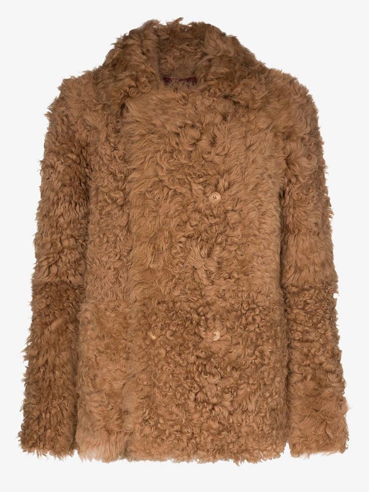 Sies Marjan Pippa reversible shearling coat in brown