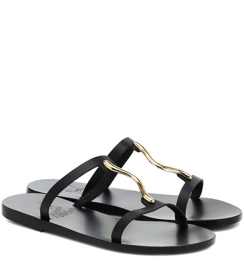Ancient Greek Sandals Danae embellished leather sandals in black