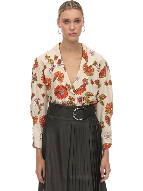 DODO BAR OR Printed Crepe De Chine Blouse in ivory / orange
