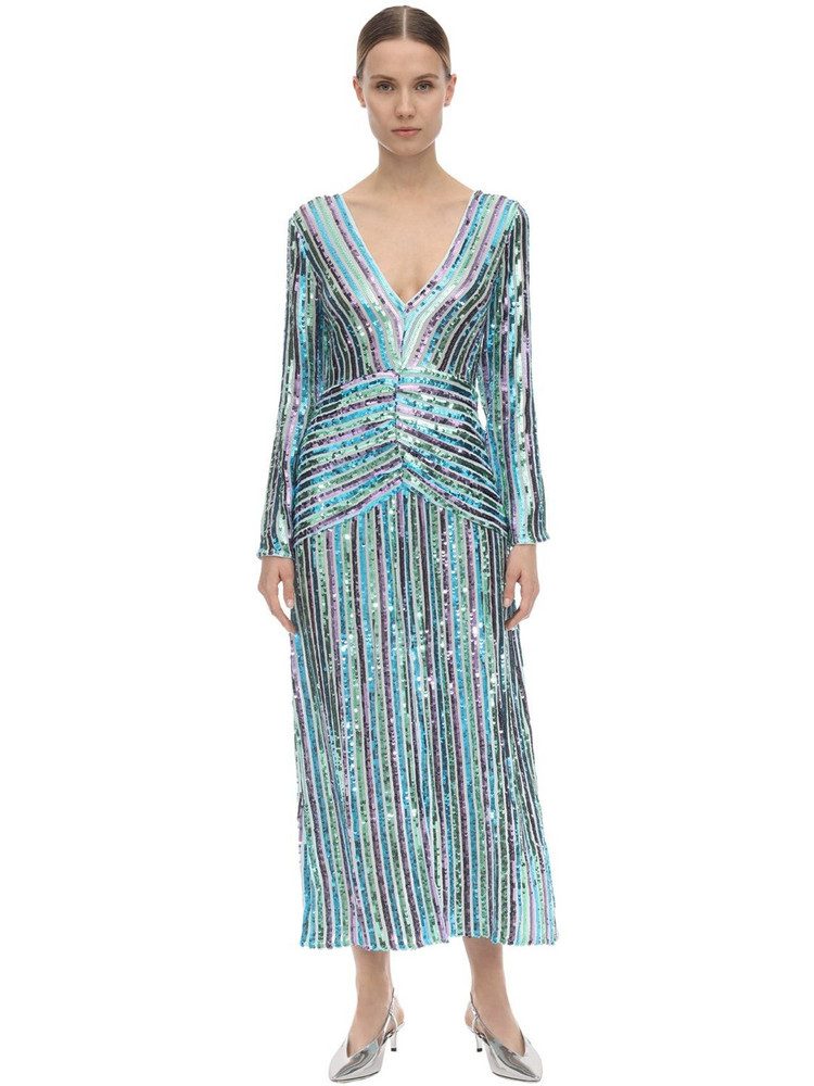 RIXO Emmy Sequined Viscose Midi Dress in blue