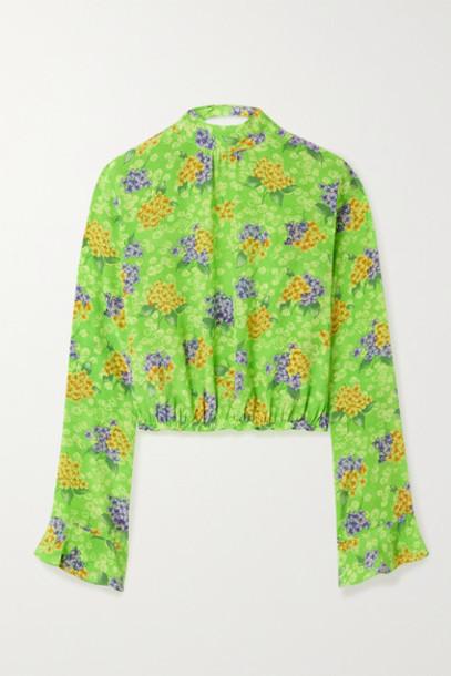 Les Rêveries - Open-back Floral-print Silk-crepe Blouse - Green