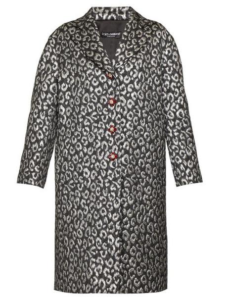 Dolce & Gabbana - Crystal Button Leopard Jacquard Cocoon Coat - Womens - Silver Multi