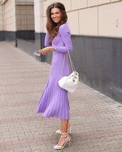dress,midi dress,pleated dress,white sandals,white bag,chanel bag