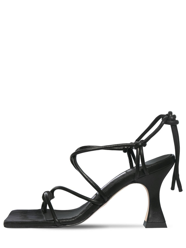 MIISTA 80mm Leather Lace-up Sandals in black