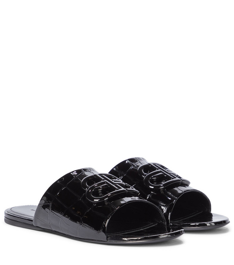 Balenciaga Oval BB patent leather slides in black