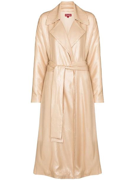 STAUD Laurent sequin trench coat in pink