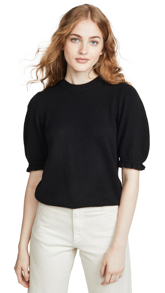 FRAME Shirred Short Sleeve Cashmere Sweater in noir