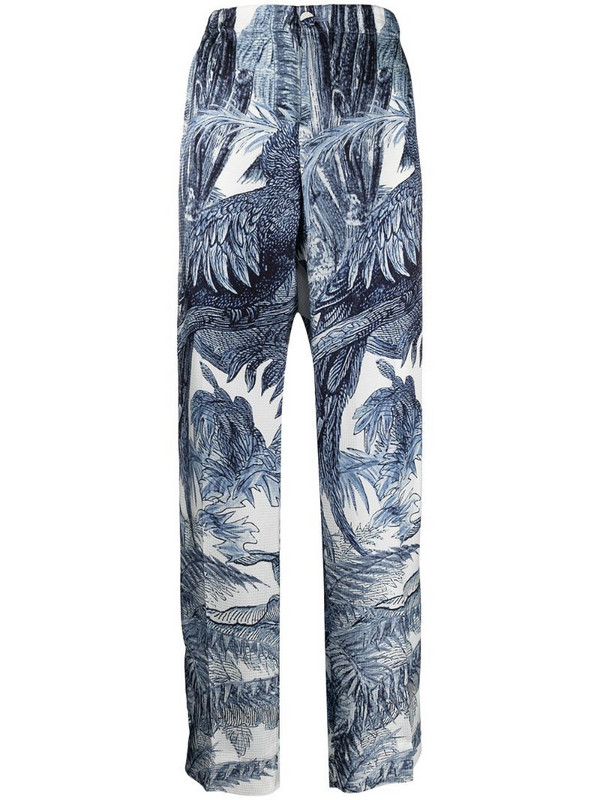 F.R.S For Restless Sleepers high-waisted jungle print trousers in blue