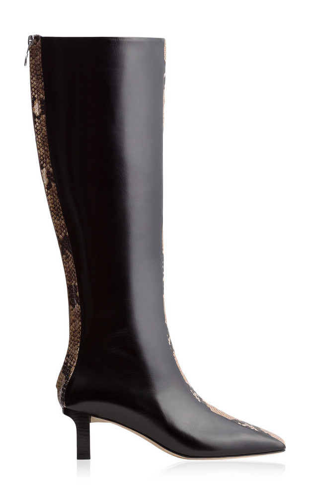 Aeyde Ophelia Snake-Effect Leather Knee-High Boots in black