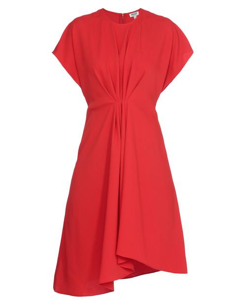 Kenzo Draped Dress in red