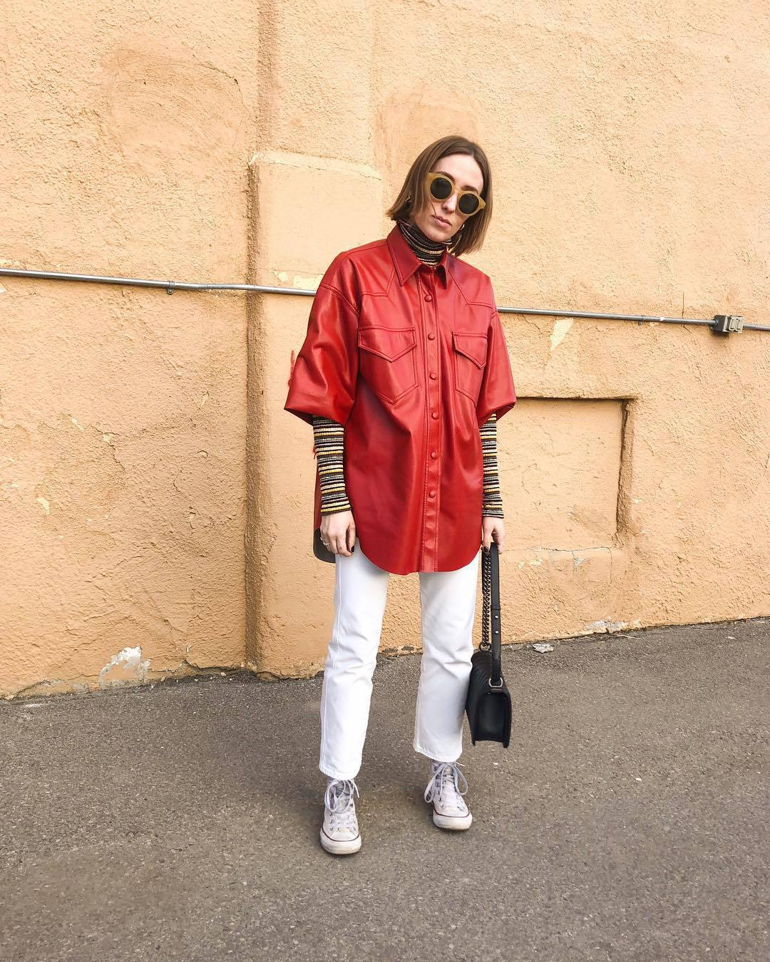 top shirt leather converse white jeans turtleneck black bag sunglasses