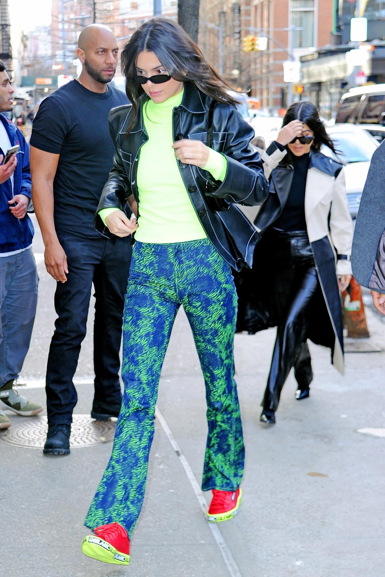 top neon kendall jenner kardashians model off-duty streetstyle fashion week