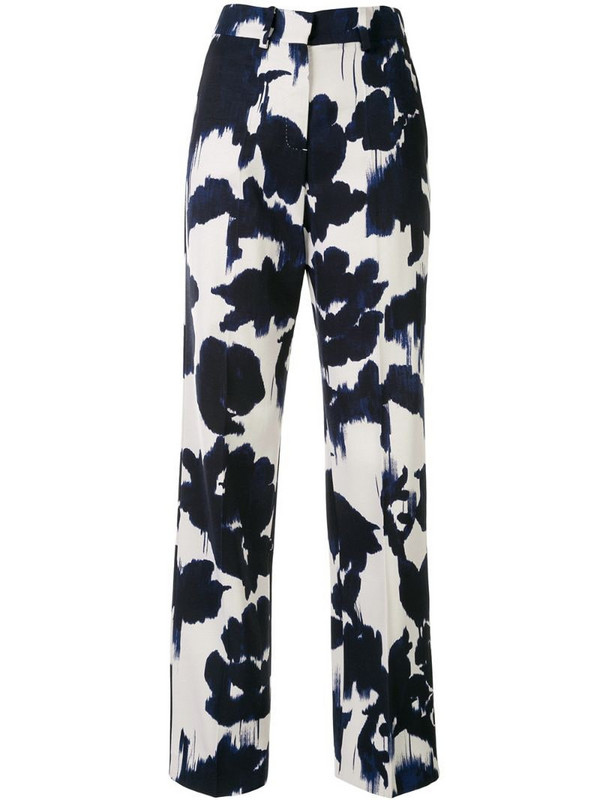 Delpozo abstract-print straight trousers in blue