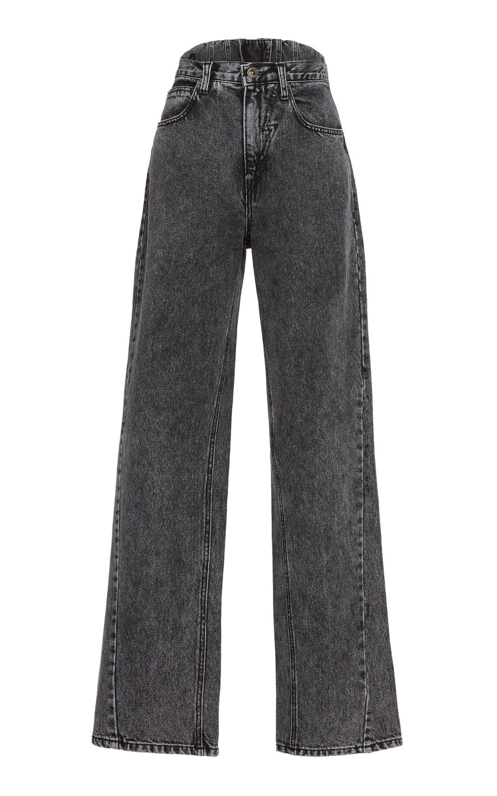 Pushbutton Low-Rise Wide-Leg Acid Wash Jeans in grey