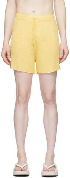Calle Del Mar Yellow Ribbed Shorts