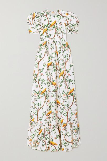 Agua by Agua Bendita - Amapola Open-back Printed Cotton-poplin Maxi Dress - White
