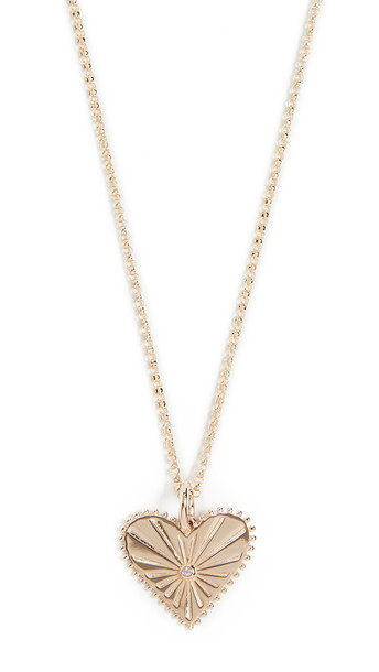 Marlo Laz 14k Mini Pour Toujours Heart Coin Necklace in gold / pink