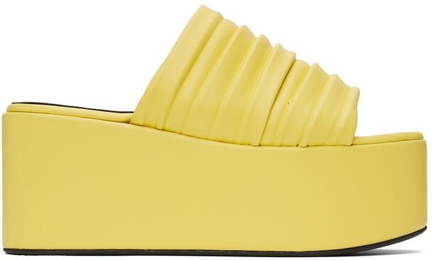 Simon Miller Yellow Pleated Coaster Platform Sandals