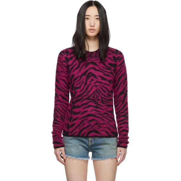 Saint Laurent Pink Jacquard Zebra Sweater