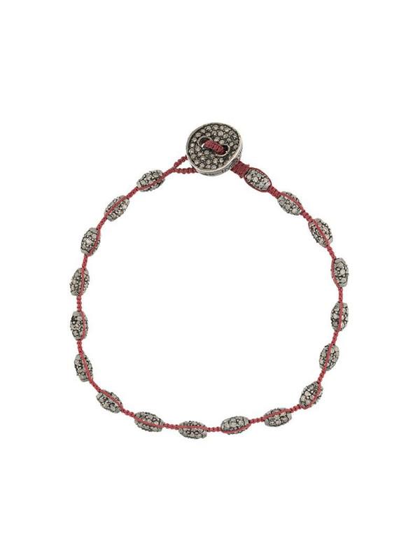 Tateossian diamond button macrame bracelet in black