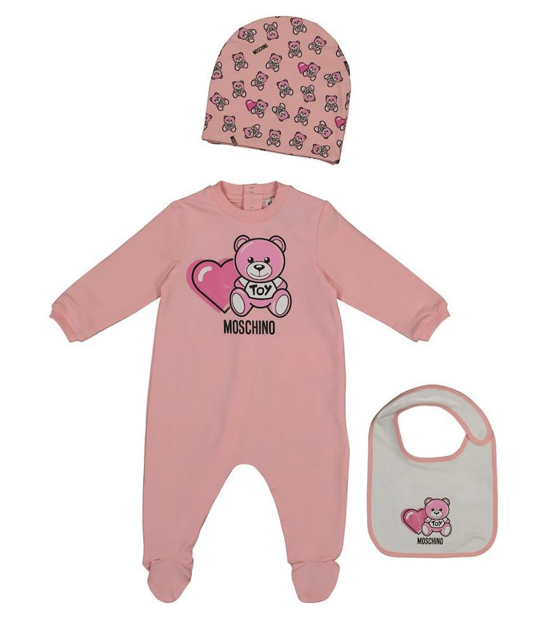 Moschino Kids Baby cotton onesie, hat and bib set in pink
