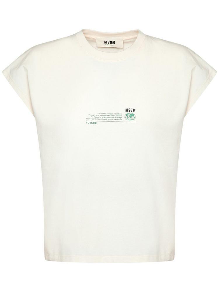 MSGM Printed Organic Cotton T-shirt in white