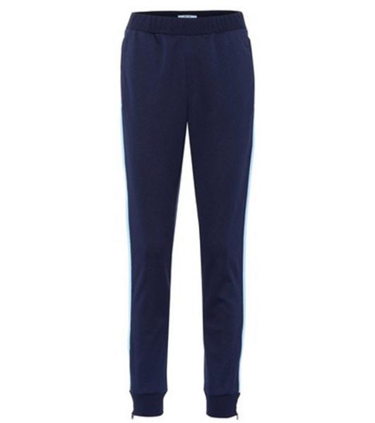 Prada Zip-cuff sweatpants in blue