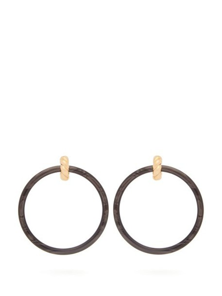 Balenciaga - Marble Effect Hoop Earrings - Womens - Black