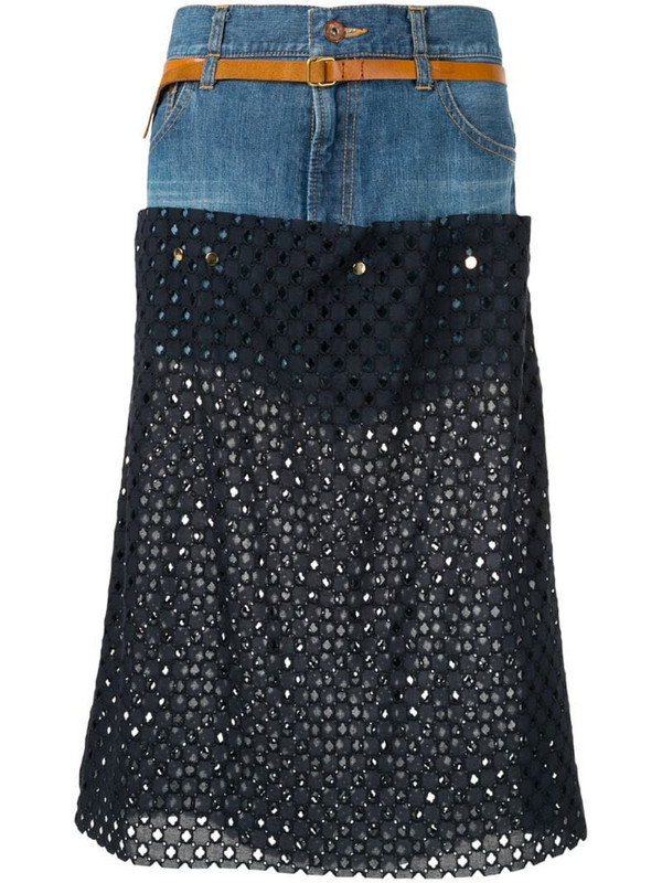 Kolor perforated jean skirt in blue