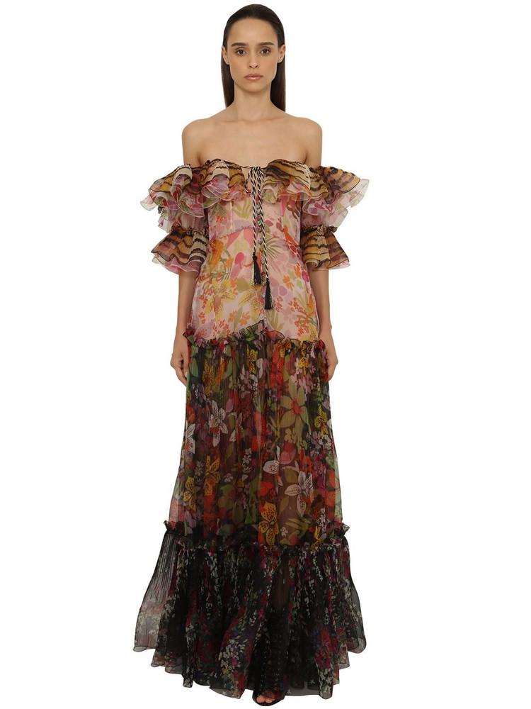 DUNDAS Printed Organza Long Dress