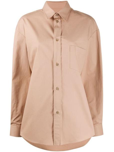 Maison Margiela cotton long sleeve shirt in brown