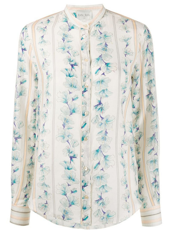 Forte Forte floral print shirt in neutrals