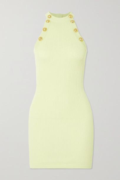 Balmain - Button-embellished Ribbed-knit Mini Dress - Yellow