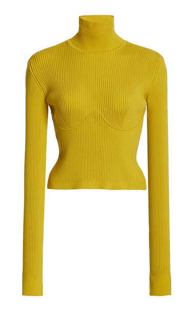 Gabriela Hearst Russel Merino Wool Knit Top in yellow